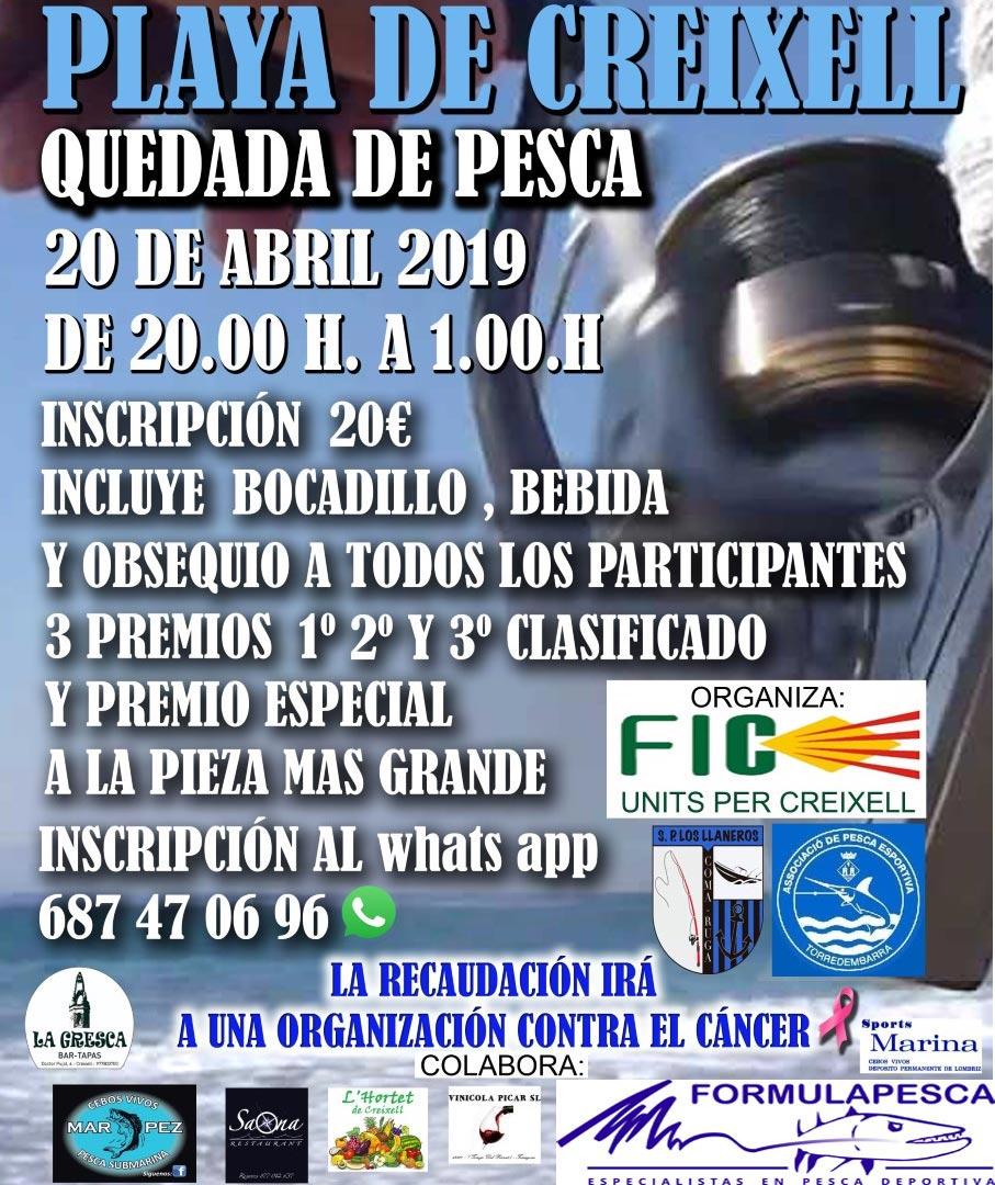 Quedada de pesca solidaria en Creixell (Tarragona)